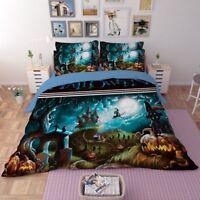 3D Thriller Halloween Pumpkin Forest Duvet Cover Bedding Set Pillowcase 3pcs