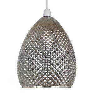 Chantelle Champagne Chrome Glass Ceiling Pendant Light Lamp Shade
