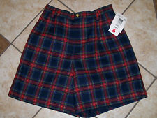 NWT VTG Liz Claiborne Lizsport Navy Red Plaid High Waisted Wool Shorts 6 Petite