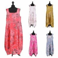 New Womens Italian Square Neck Floral Print Sleeveless Linen Ladies Midi Dress