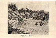 Stampa antica SIRACUSA veduta dell' Anfiteatro greco Sicilia 1891 Old print