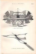1880 Imprimé ~ Ballons MOY'S Antenne Vapeur Brearey Etc