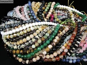 Natural Gemstones 6mm Faceted Round Loose Beads Strand 15'' ~ 16'' Pick Stone