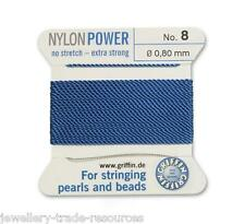 BLUE NYLON POWER SILKY STRING THREAD 0.80mm STRINGING PEARLS & BEADS GRIFFIN 8