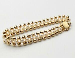 Vtg 14K Gold Cultured Pearl Beaded Strand Bracelet Triple Strand Estate Tennis