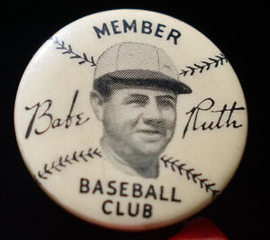 ~ E185 ~ vintage 1930s Babe Ruth Baseball Club premium pin ~ UNGRADED
