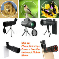 40x Zoom HD Optical Monocular Telescope Lens Mobile Phone Camera Tripod Bracket