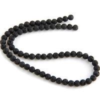 Strang Lava Steinperlen Stein Perlen schwarz Rund 10mm