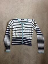LADIES ASSORTED BLUES AND BEIGE STRIPED ATMOSPHERE LONG SLEEVE CARDIGAN SIZE 12