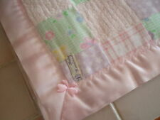 Handmade Lovely Squared Pastel Patterned Baby Cover & Pink Satin Blanket Binding