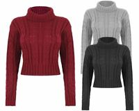 Ladies Womens Knitted High Polo Neck Chunky Knit Cable Jumper Crop Sweater Top