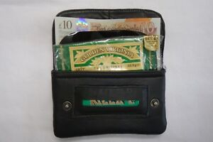 Soft Leather Tobacco Pouch Light Weight Organizer with Zip Pocket Black