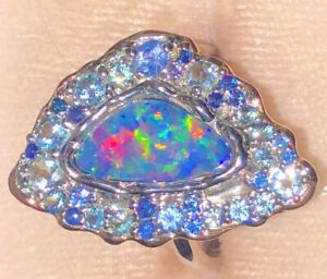 Tanzanite Crowning Fan Ladies Australian Opal Ring 8 Rose Gold accents