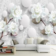 Wood Fiber Waterproof Wallpaper White Floral Living Room Bedroom Home Decoration