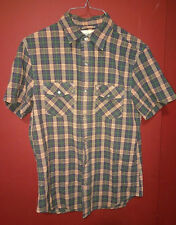 DENIM & SUPPLY RALPH LAUREN Short Sleeve Pearl Snap Small Plaid Western Shirt