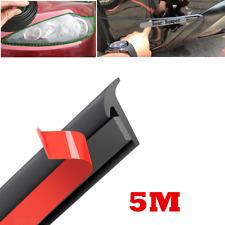 5M Black Sealed Strip Car Front Bumper Lip Body Side Skirt Rubber Protector Trim