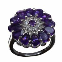 Handmade 925 Solid Sterling Silver Ring Natural Amethyst Stone US Size 7.5 R-245