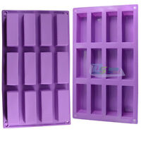 Exquisite Cake Mold 12-Rectangle Soap Ice Cube Flexible Silicone Candy Mould DIY