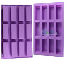 Silicone 12-Rectangle Soap Mold Candy Baking Mould Bakeware Food-grade DIY