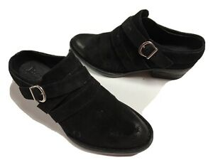 New Born Comfort Black Distressed Suede Leather Slide Western Ankle Boots 6M