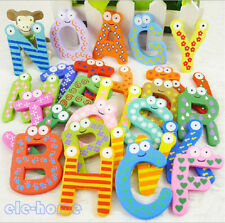 26pcs Letters Baby Kids Wooden Alphabet Fridge Magnet Child Educational Toy ELEH