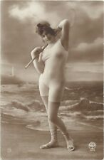Old French real photo postcard bathing beauty nude art study 1920s RPPC pc #426