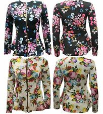 New Ladies Floral Long Sleeve Peplum Blazer jacket 8-16