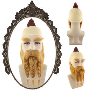 Brown Blad Wig for Coplay Dwarf Warrior Full Beard and Moustaches Set HM-614