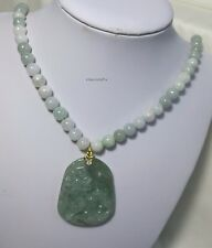 Genuine Silver Grade A Myanmar Jadeite Jade 8mm necklace Qilin 麒麟 pendant L50cm