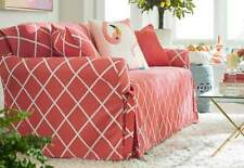 Sure Fit Sofa Slipcover Lattice Collection in Coral for Box Cushion 100% Cotton