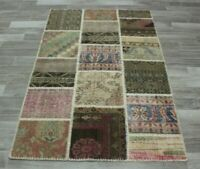 Hand Knotted Turkish Vintage Patchwork Carpet Traditional Wool Area Rug 4x6 ft.