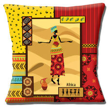 "NEW AFRICAN TRIBAL LADY RED YELLOW BEIGE SHADES PRINTED 16"" Pillow Cushion Cover"