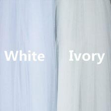 2M Long Cathedral Ivory/White Classic Simple Plain Cut Edge Bridal Veil Comb UK