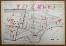 ORIGINAL 1905 32x22 City of Trenton NJ Atlas Colored Map POTTERY Factories