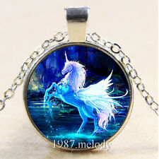 New Cabochon Glass Silver/Bronze/Black Chain Pendant Necklace (blue unicorn)