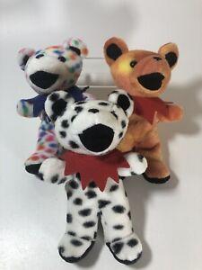 Grateful Dead Dancing BEAR Plush Beanie Baby Lot of 3 Sunshine, Dupree & Peggy-O