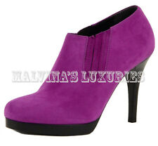 VIBRANT BALENCIAGA BOOTS SUEDE ANKLE LEATHER BOOTIES PURPLE ELASTIC GORES 39