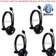4x Wireless Bluetooth Handsfree Boom Mic Headset Headphone Over Head Free Truck