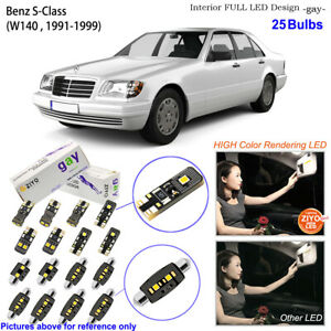 25 Bulbs Deluxe LED Interior Light Kit White For W140 1991-1999 Benz S Calss