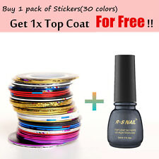 30 COLORS NAIL STICKER ROLLS TAPE NAIL ART UV GEL TIPS DIY KIT WIth Top Coat
