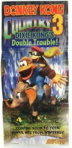 Official Donkey Kong Country 3 SNES 1996 Nintendo Power Poster Authentic RARE