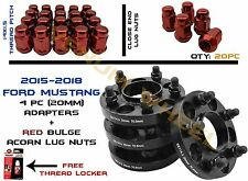 """Ford Mustang 5x4.5"""" (4) 20mm Hub Centric Adapter Kit W/ 20 Red Acorn Lug Nuts"""