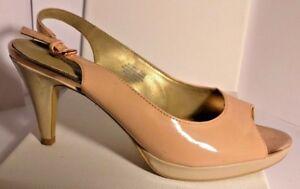 Women's Pink Slingback High Heel Shoe with Peep Toe Size 7.5 by Bandolino