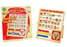 Rétro Jouet En Bois Alphabet Support Boulier Enfants À Compter Horloge Éducatif