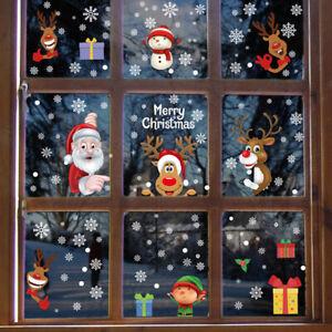 Christmas Window Glass Stickers Cute Santa Snowman Shop Xmas Party Wall Decor1pc