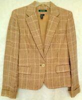 Lauren Ralph Lauren Womens Sz 4 Beige Tan Brown Plaid Linen Blazer Jacket Career