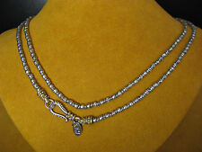 "BARBARA BIXBY BARREL BEAD HE NECKLACE CHAIN SS18K  36"" DESIGNER GIFT Christmas"
