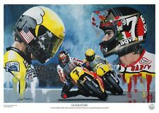 BARRY SHEENE KENNY ROBERTS  LIMITED EDITION PRINT SIGNED BY ARTIST MotoGP