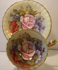 Aynsley J A Bailey Hand Painted Floral Bouquet Cabinet Cup And Saucer