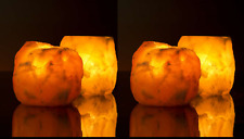 4 x HIMALAYAN PINK SALT ROCK CRYSTAL CANDLE HOLDER HEALING IONIZING T-LIGHT